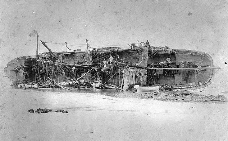 Wrecked Ship, SMS Adler after the Samoa Hurricane