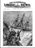 Illustrated London News 24-04-1889. The Trenton crew are cheering HMS Calliope as she escapes Apia Bay, Samoa, on the day of the Hurricane.