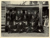 Captain Kane surrounded by his Officers on the Deck of HMS Calliope. Image scanned from the book: 'The First Commission of HMS Calliope' by E.W. Swan. Presumably taken after Calliope's return to England following the Samoa Hurricane of March, 1889.